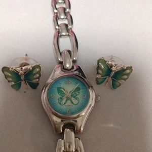 Other - butterfly Watch set with earrings